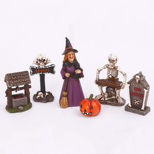 Vintage Box Set of Six Halloween Witch and Skeleton Figurines – Tabletop Halloween Decoration
