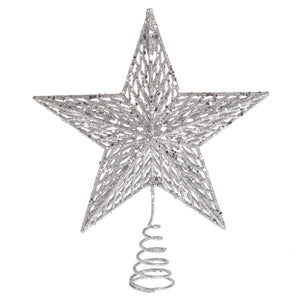 Sparkling Silver Metal Star Tree Top Decoration - Christmas Tree Topper Holiday Ornament