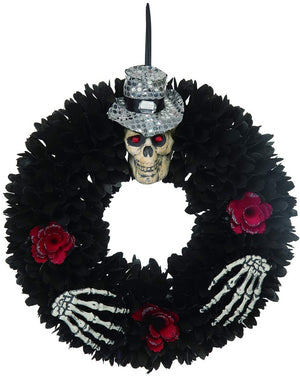 Orchid & Ivy 18-Inch Black Wood Curl Skull Wreath with Roses – Hanging Halloween Decoration