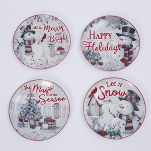 Set of Four 8-Inch Ceramic Holiday Snowman Plates in Gift Box – Christmas Tableware Party Decoration