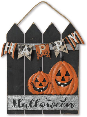 Rustic Wood Fence with Pumpkins Happy Halloween Sign – Hanging Halloween Decoration