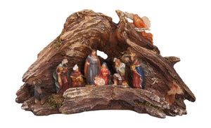 Stunning Lighted Wood Knot Manger Tabletop Christmas Nativity Scene