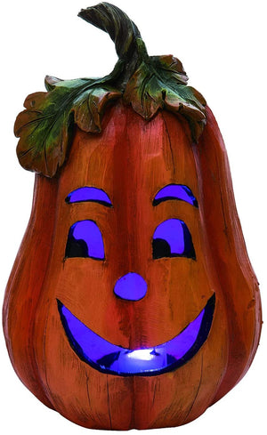 Lighted Vintage Jack-o-Lantern Pumpkin Figures – Tabletop Halloween Decoration (Smiling)