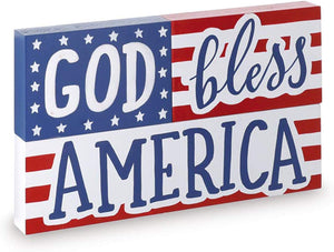 Modern God Bless America Patriotic Tabletop Sign – Fourth of July Decoration