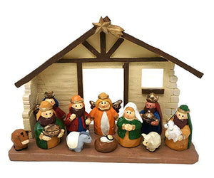 Medium Size Kids Christmas Nativity Scene with Creche, Set of 12 Figures