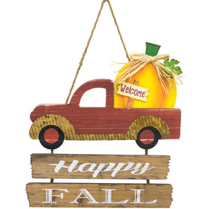 Rustic Wooden Truck Fall Welcome Sign with Pumpkin and Greeting - Hanging Fall Decoration