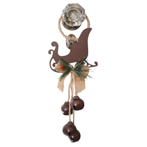 14 Inch Rustic Metal and Burlap Holiday Door Knob Hanger with 4 Jingle Bells (Sleigh)