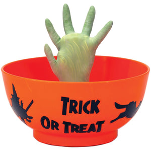 Animated Witch Hand Candy Bowl Trick or Treat Dish Halloween Decoration with Sound