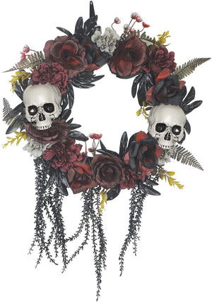 Orchid & Ivy 20-Inch Halloween Wreath with Skulls and Roses - Halloween Front Door Decoration