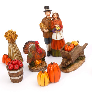 Six Piece Vintage Box Set of Indian or Pilgrim Fall Harvest Figurines – Tabletop Thanksgiving Decoration (Pilgrim)