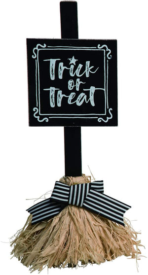 Whimsical Witch Broom Halloween Sign – Tabletop Halloween Decoration (Trick or Treat)