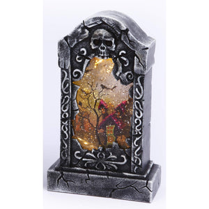 Spooky Light Up Animated Tombstone Water Globe with Spinning Halloween Figures – Tabletop Halloween Decoration (Haunted House)