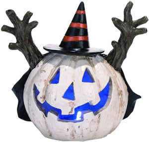 LED Light Up White Halloween Jack o Lantern Spooky Pumpkin Figure – Tabletop Lantern Decoration