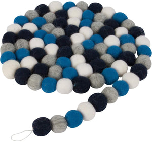 Orchid & Ivy 7 Foot Blue, Gray and White Wool Felt Ball Pom Pom Garland - Vintage Christmas Tree Decor Holiday Party Banner Decoration for Wall, Crafts, Kids Room