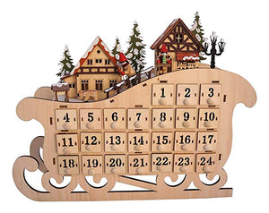 LED Lighted Wooden Bavarian Sleigh Advent Calendar - Christmas Decoration with 24 Storage Drawers