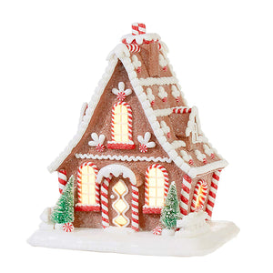 10-Inch Whimsical Lighted Gingerbread House – Tabletop Christmas Decoration