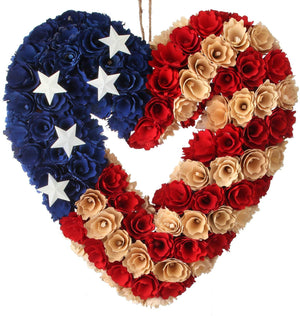 13-Inch Heart Shaped Wood Curl Patriotic Wreath – 4th of July Decoration