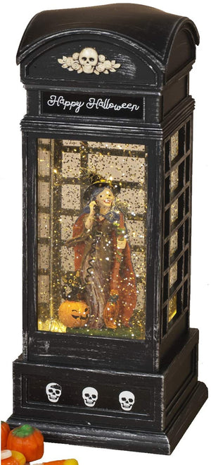 Light Up Halloween Water Globe Phone Booth – Animated Halloween Decoration (Witch)