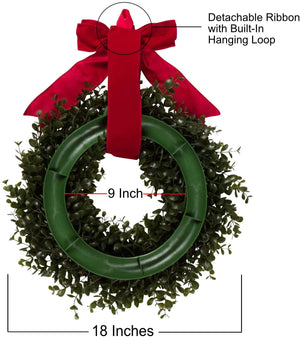 Orchid & Ivy 18-Inch Green Artificial Boxwood Wreath with Red Hanging Ribbon - Outdoor Indoor All-Weather Farmhouse Decor Front Door Wall Hanging Christmas Decoration