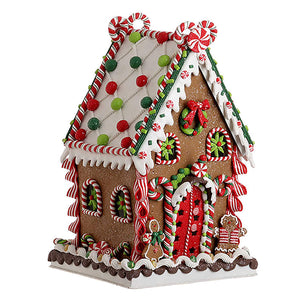 14-Inch Playful Christmas Gingerbread House – Tabletop Christmas Decoration