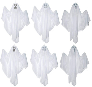Set of 6 White Small Hanging Ghosts Halloween Decoration