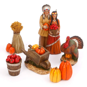Six Piece Vintage Box Set of Indian or Pilgrim Fall Harvest Figurines – Tabletop Thanksgiving Decoration (Indian)