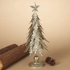 18 Inch Gold Glittered Metal Christmas Tree with Star - Tabletop Holiday Decoration