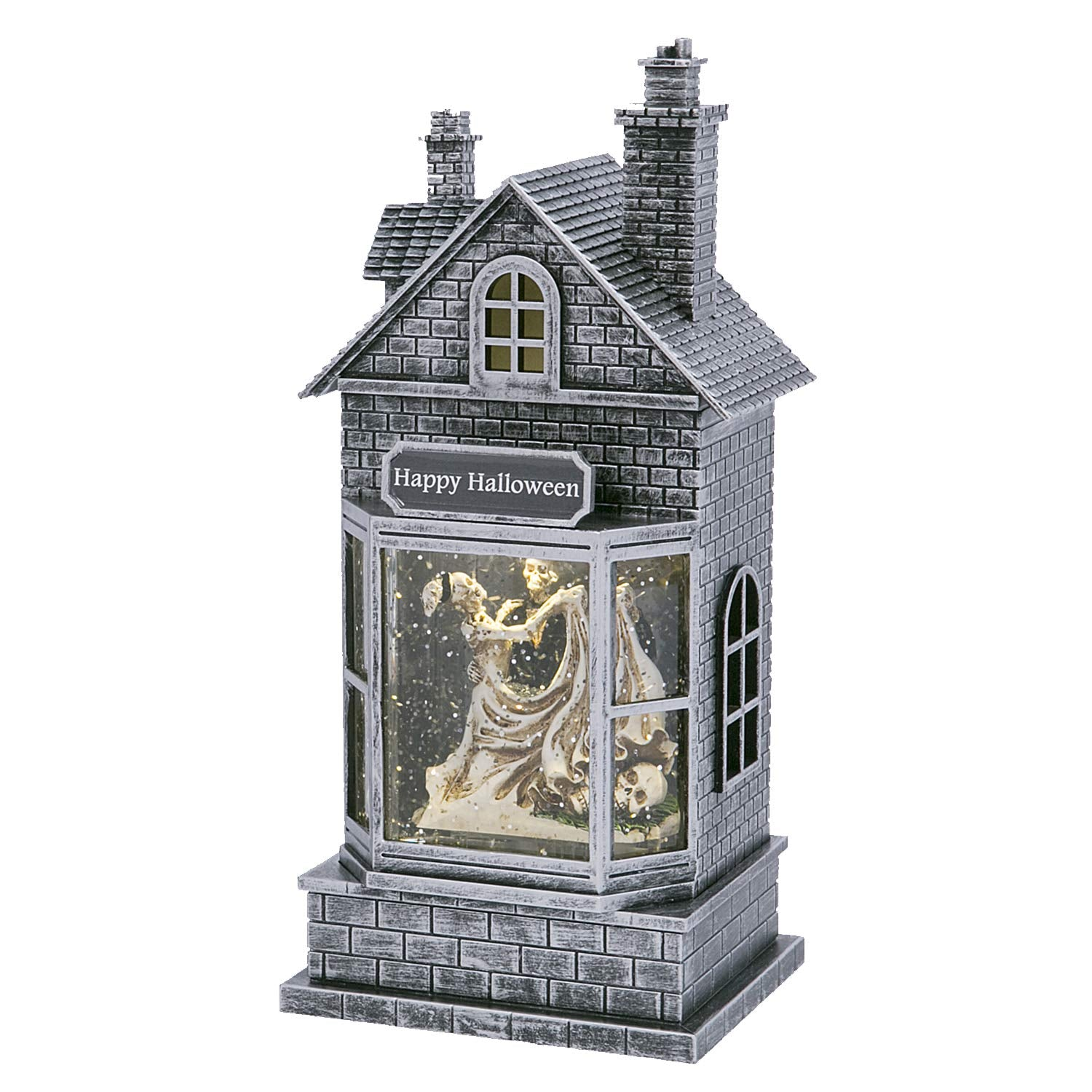 Elegant Light Up Animated Haunted House Water Globe with Spinning Halloween Figures – Tabletop Halloween Decoration Skeletons