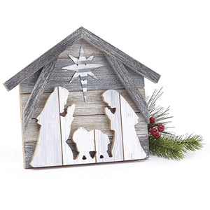 Rustic Layered Wood Nativity Scene – Tabletop Christmas Decoration