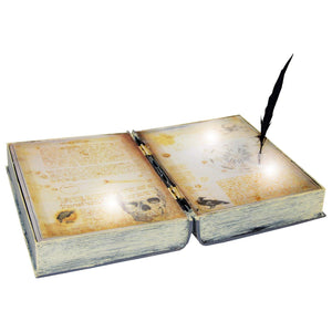 Animated Spell Book with Feather Halloween Decoration Party Prop Haunted Accessory