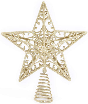 Elegant Gold Glitter Star Christmas Tree Topper – Treetop Holiday Ornament Home Decor