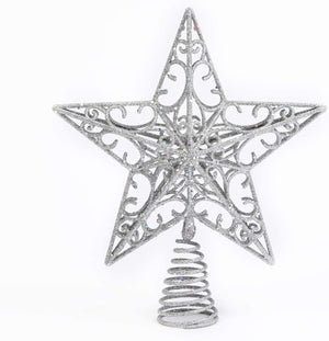 Elegant Silver Glitter Star Tree Topper – Christmas Tree Topper Holiday Ornament