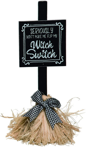 Whimsical Witch Broom Halloween Sign – Tabletop Halloween Decoration (Witch Switch)