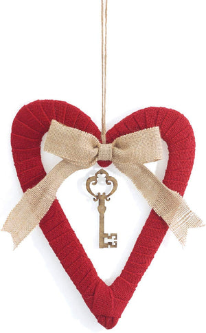 Burlap Heart and Key Charm Wreath - Valentines Day Wall Hanging Decoration