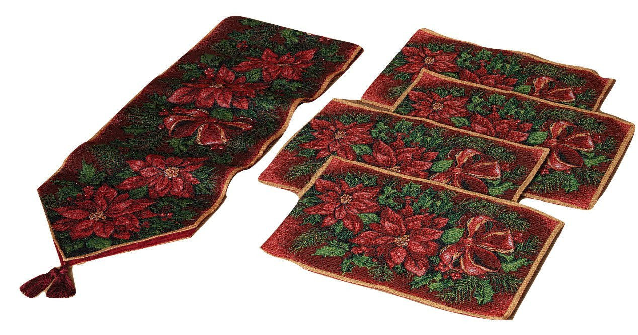 Poinsettia Flowers Fabric Christmas Table Runner and Place Mats 5