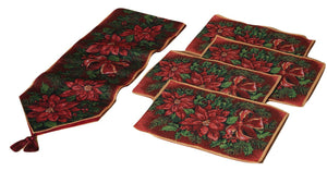 Poinsettia Flowers Fabric Christmas Table Runner and Place Mats 5 Piece Set