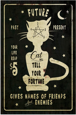 Vintage Metal Spooky Black Cat Fortune Teller Sign – Halloween Wall Art Psychic Decor