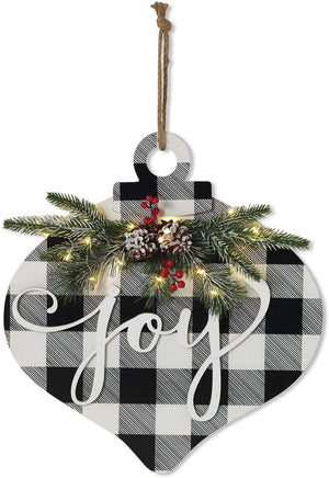 LED Lighted Wood Christmas Ornament Joy Sign with Pine and Berry Accents - Rustic Light-Up Holiday Wall Art Decoration - Indoor Outdoor Winter Farmhouse Front Door Decor