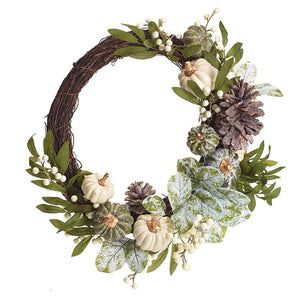 13-Inch Elegant Fall Wreath with Frosted Pumpkins and Pinecones – Hanging Autumn Decoration