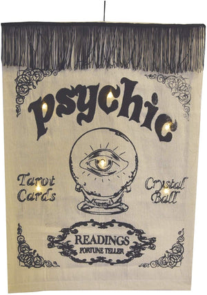 Vintage Light Up Fortune Teller Wall Tapestry – Psychic Readings Sign Vintage Halloween Wall Art