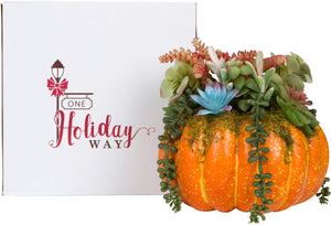 Orange Faux Pumpkin with Succulents Fall Table Decoration - Autumn Centerpiece