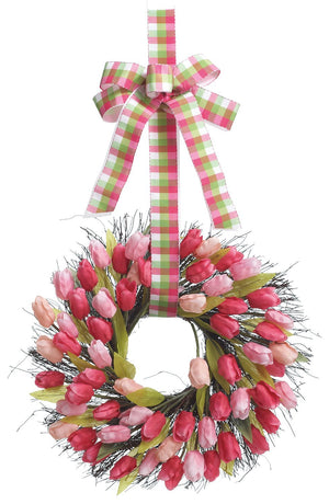 Pink and Red Faux Tulip Wreath with Ribbon - Front Door Wreath Spring Decoration