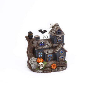 Spooky Light Up Miniature Haunted House with Hovering Bat – Halloween Village Tabletop Decoration