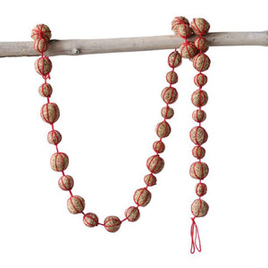 Vintage Style Coir Ball Garland with Red String Christmas Tree Holiday Decoration, 72 Inches