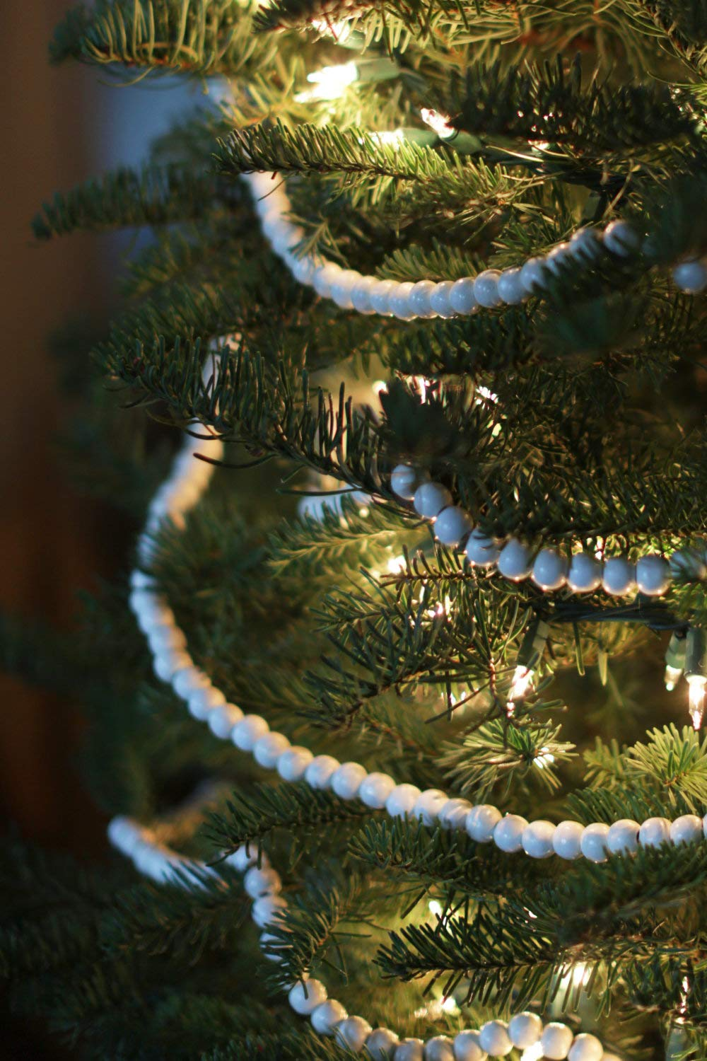 Vintage Style White Wood Bead Garland Christmas Tree Holiday Decoratio One Holiday Way