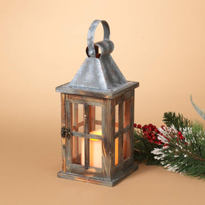 Rustic Pine Wood Lantern with LED Candle and Timer - Tabletop Wedding or Holiday Decoration