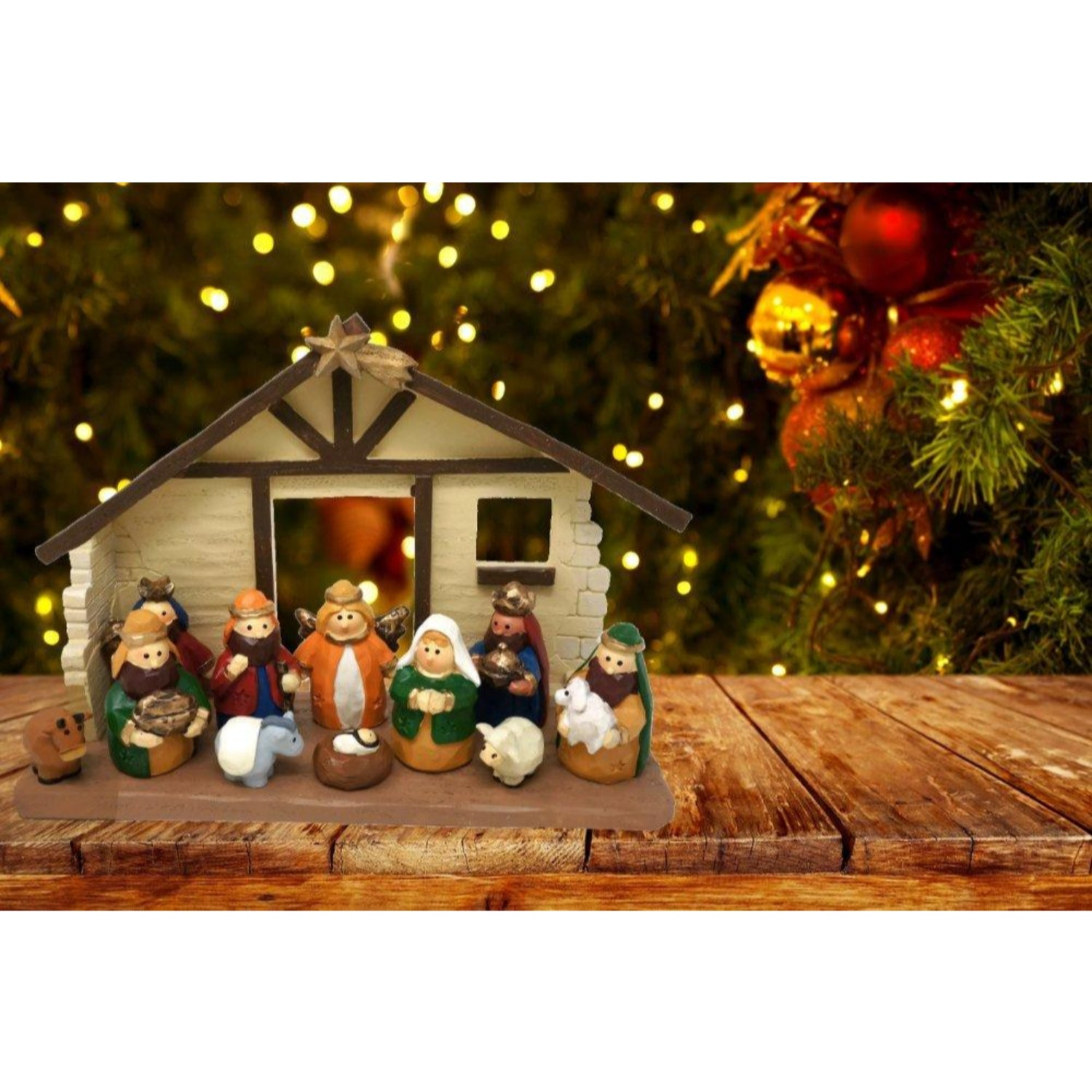 Charming Rustic Christmas Nativity Set With Wood And Metal Creche
