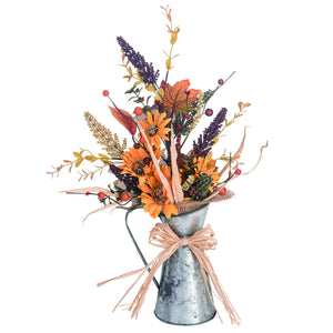 18-Inch Rustic Metal Pitcher Autumn Flower Centerpiece – Tabletop Fall Decoration