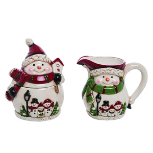 Cheerful Snowman Creamer and Sugar Bowl, Set of 2 – Christmas Tableware