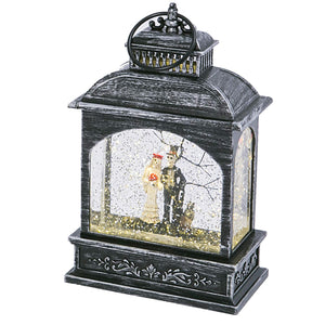 Vintage Animated Lantern Water Globes with Halloween Figures – Tabletop Halloween Decoration (Skeleton Couple)
